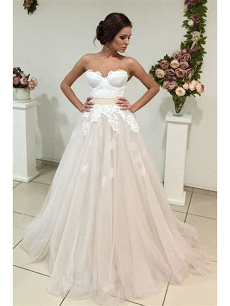 A Line Sweetheart Lace Tulle Wedding Dresses Bridal Gowns