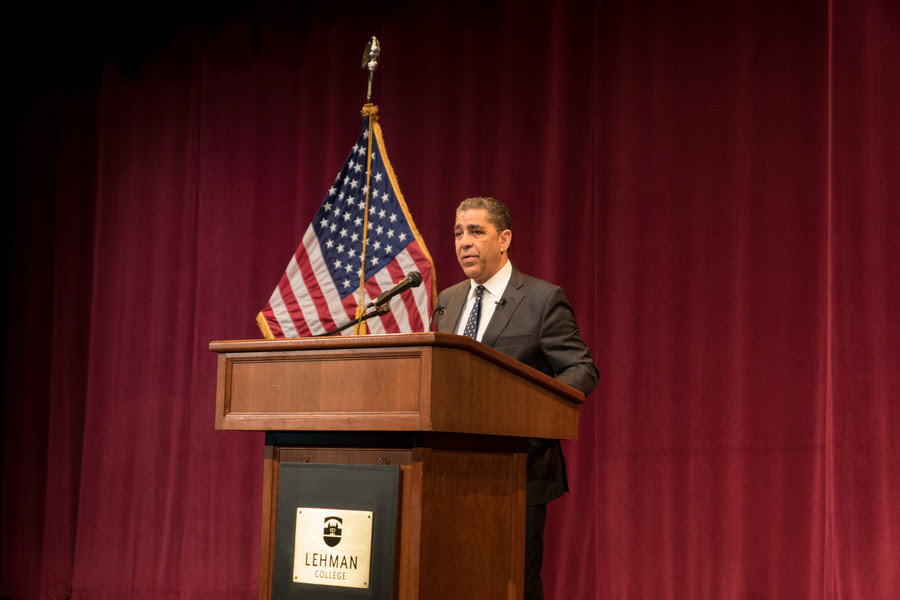 Just before he took the stage to address students at Lehman College earlier this month, U.S. Rep. Adriano Espaillat spoke with The Riverdale Press regarding death threat he received from the gang MS-13.