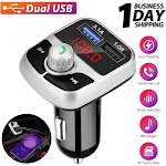 Wireless Bluetooth 5.0 Car FM Transmitter MP3 Radio Adapter Aux Dual USB Charger