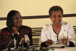 Leticia Kazembe and Rita Makarau of the Zimbabwe Electoral Commission briefing reporters on the national elections on August 1, 2013. by Pan-African News Wire File Photos
