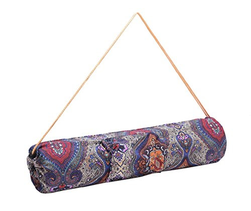The small »Rukmini« yoga mat bag from #DoYourYoga / made from 100% cotton canvas (sail cloth), very beautiful workmanship, for yoga and Pilates mats up to a size of 186 x 62 x 0.3 cm, blue pattern