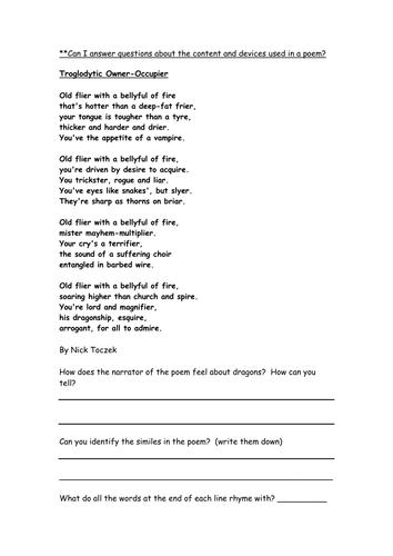 dragon poetry comprehension Yr 5/6 by ellieteacher ...