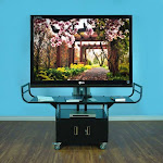 VTI 10400 AV Cart with 80 inch TV Mount and Locking Cabinet