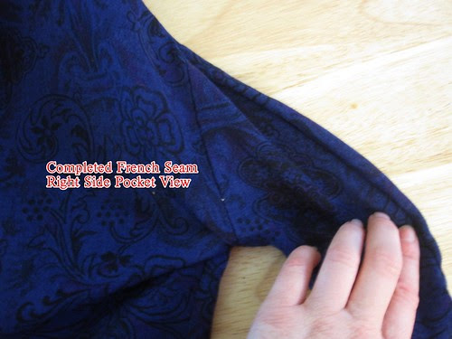 Completed Seam from Outside of Garment