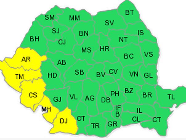 Codul galben de ploi, prelungit în cinci judete din tara