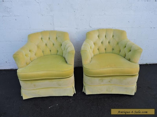 Pair of Vintage Tufted Mid Century Side Chairs by Woodmark Originals 7147