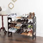 Everyday Home Stackable Shoe Rack: 4 Tier Rack Black
