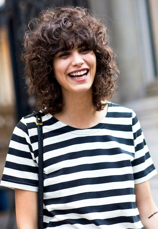 Le Fashion Blog Beauty Haircare Short Curly Hair Black And White Striped Tee Shirt Bag Via Sandra Semburg