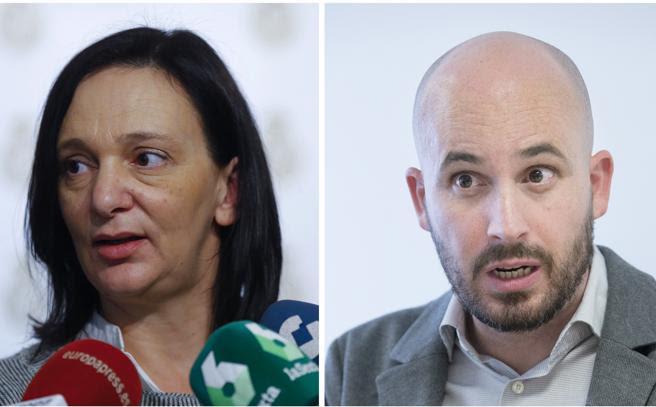 Fotografía de archivo de la cofundadora y hasta ahora número tres de Podemos, Carolina Bescansa, y el responsable de Economía del partido, Nacho Álvarez