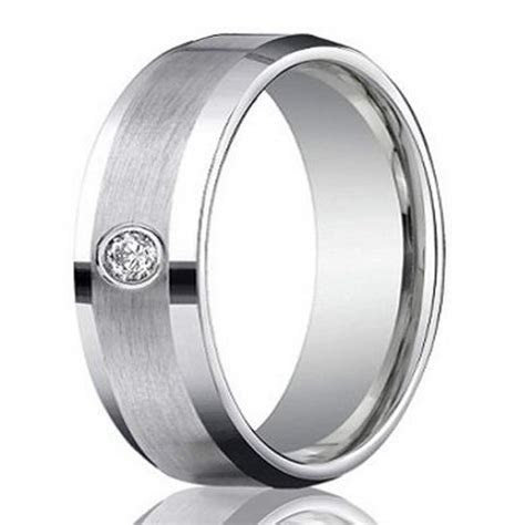 Men?s 4mm Palladium Wedding Ring with Round Diamond Satin