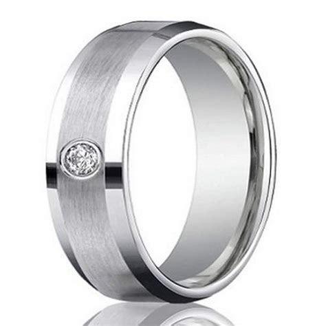 Men?s 4mm Palladium Wedding Ring with Round Diamond Satin