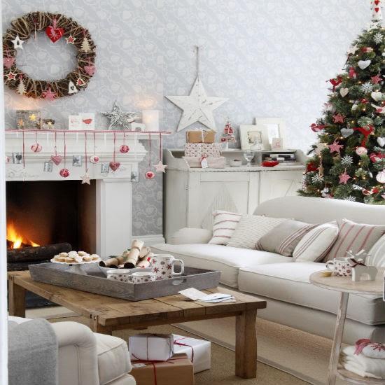 Nostalgic Scandi-style Christmas living room | Christmas living room decorating ideas | PHOTO GALLERY | Ideal Home | Housetohome