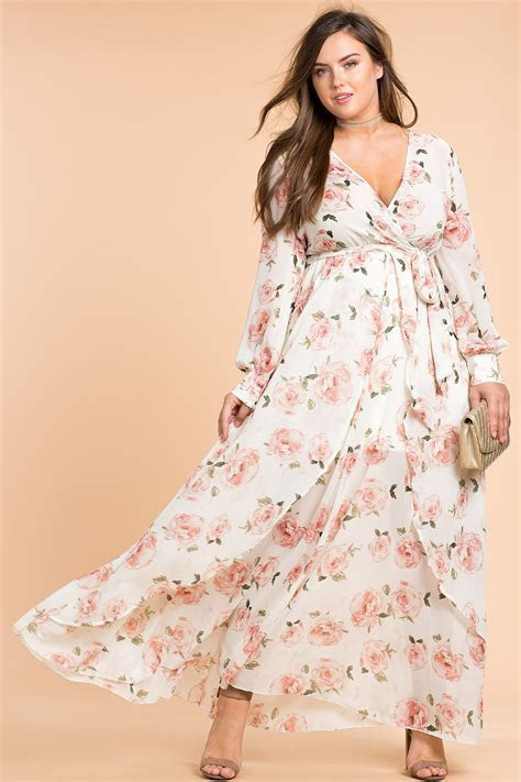 Women's Plus Size Maxi Dresses   Floral Shine Maxi Dress