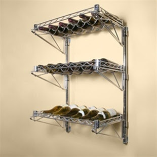 14d 3 Shelf Chrome Wire Wall Mounted Wine Shelving Kit