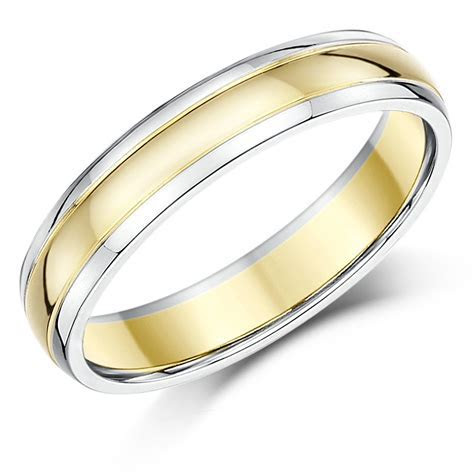 9ct Two Colour Wedding Ring Band Gold Court Shape Two Tone