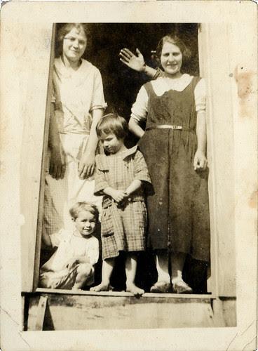Two women two children