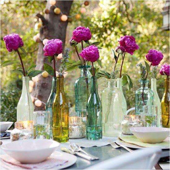 Arranjos de Flores para Mesa em garrafa