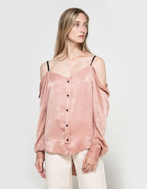 Le Fashion Blog Fall Style Pink Satin Off The Shoulder Blouse White Pants Via Need Supply