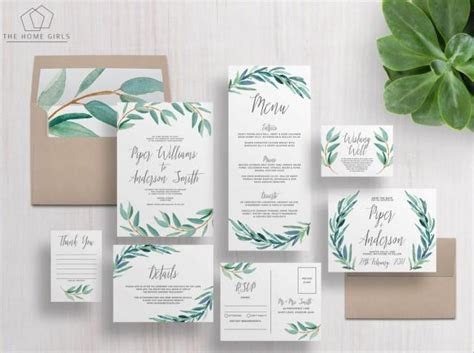 Printable Wedding Invitation Suite / Eucalyptus Invitation