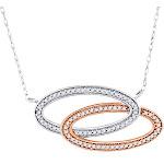 Diamond Oval Frame Pendant 10K White & Rose Gold Fashion Necklace