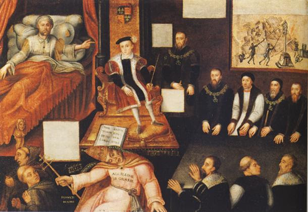 """Edward VI and the Pope: An Allegory of the Reformation."" By an unknown artist. (c. 1547 to 1570s) National Portrait Gallery, London."