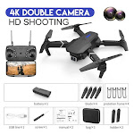 LSRC new RC drone E525 WIFI FPV and wide-angle high-definition 4K dual camera height keep foldable quadrotor dron gift toy DualCamera 4K Black