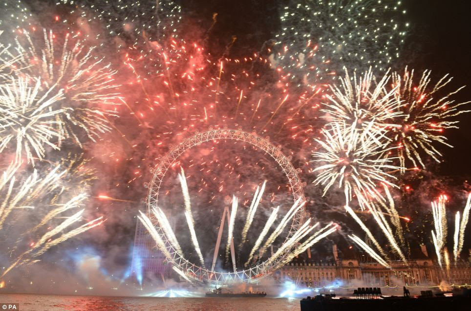 The annual crackles of fireworks and chimes of Big Ben will ring in the new year in London, where people have been queuing for hours to get a prime spot on the Southbank