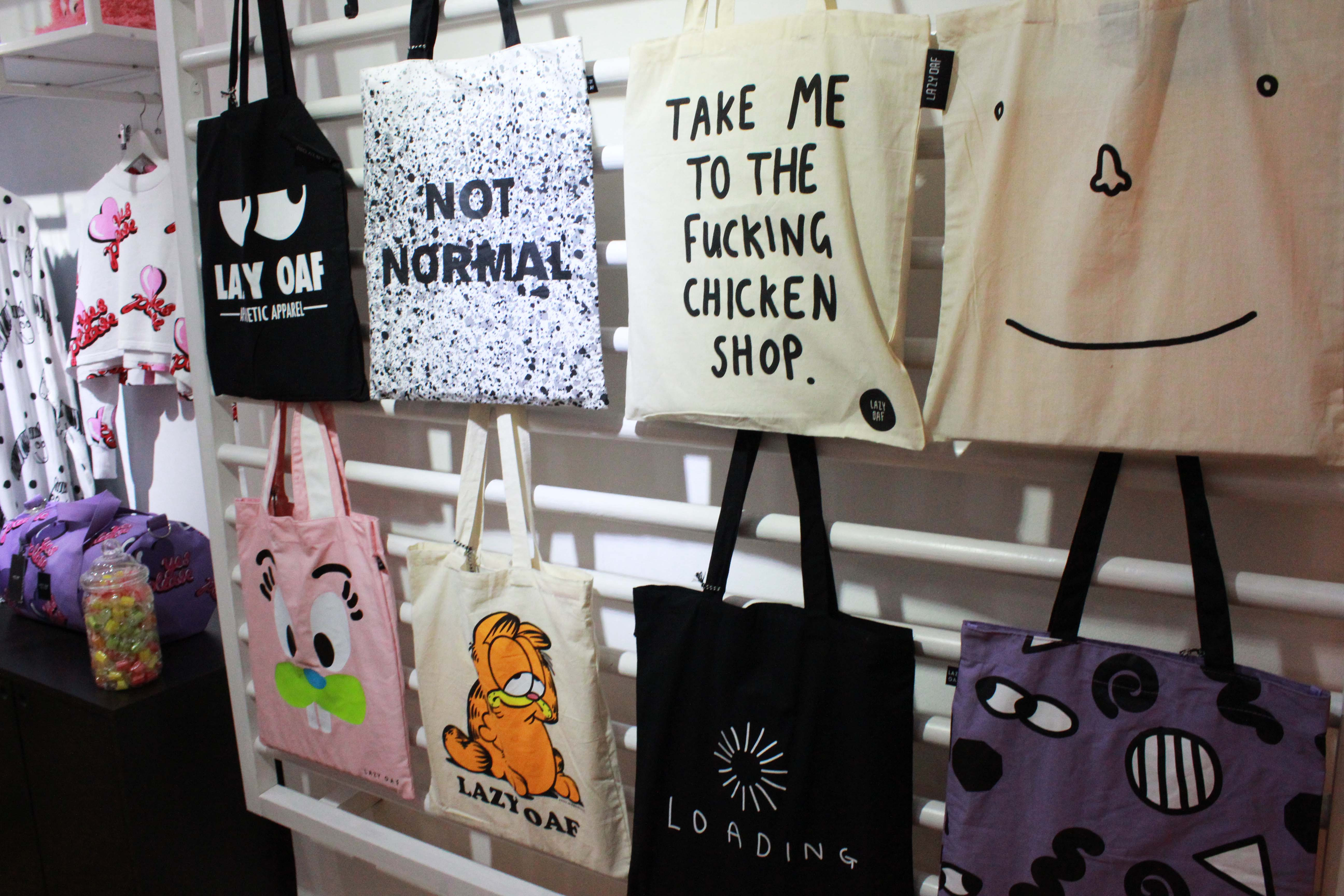 Lazy Oaf tote shopper canvas bags