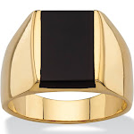 Men's Genuine Black Onyx 14k Gold-Plated Ring
