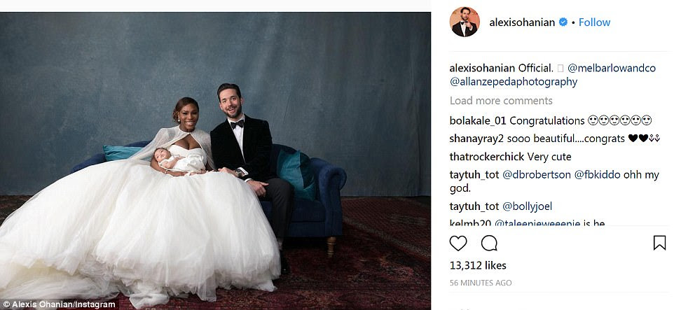 Happy together: The couple - who met just 18 months ago by chance in Rome - look delighted in this photograph posted on Ohanian's Instagram page