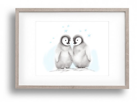 Penguin Nursery Animal Painting Arctic Two by studioQgallery