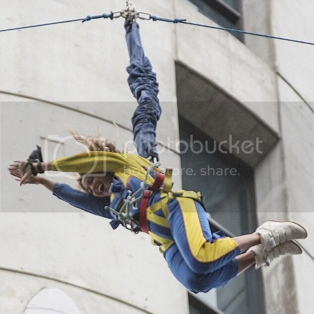 Watch: Beyoncé falls into a giddy laughing heap following sky jump...