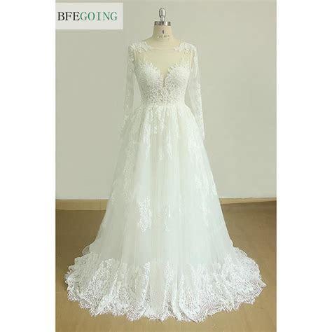 Lace Tulle Appliques A line Wedding Dress Court Train