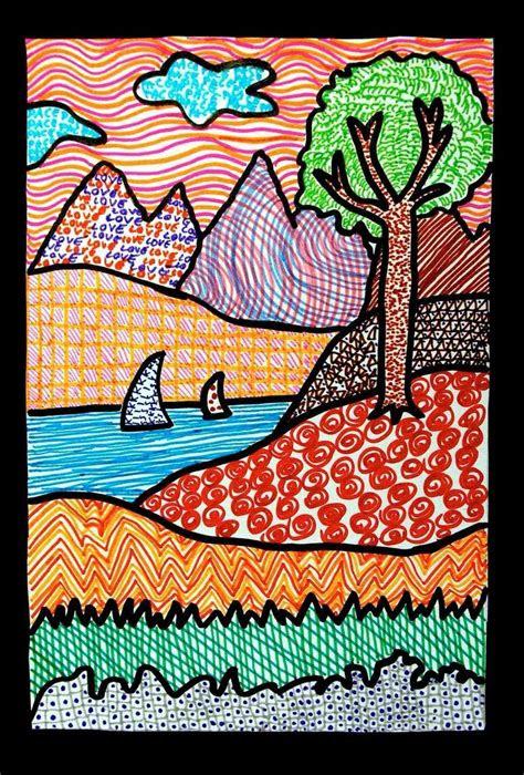 texture landscape drawings art projects  kids teach