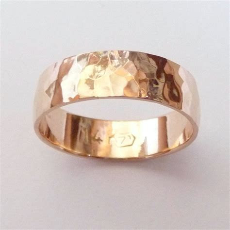 Men rose gold wedding band hammered wedding ring 6mm wide