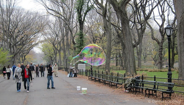 in Central Park, a man waving a wand creating bubbles