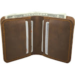 Walleteras Hand Stitched Wallet in Crazy Horse Leather - CV2 Coffee