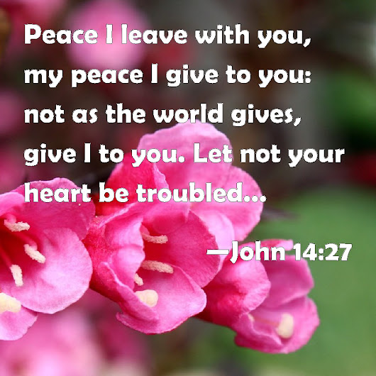John 14:27 Peace I leave with you, my peace I give to you: not as the world gives, give I to you. Let not your heart be troubled, neither let it be afraid.