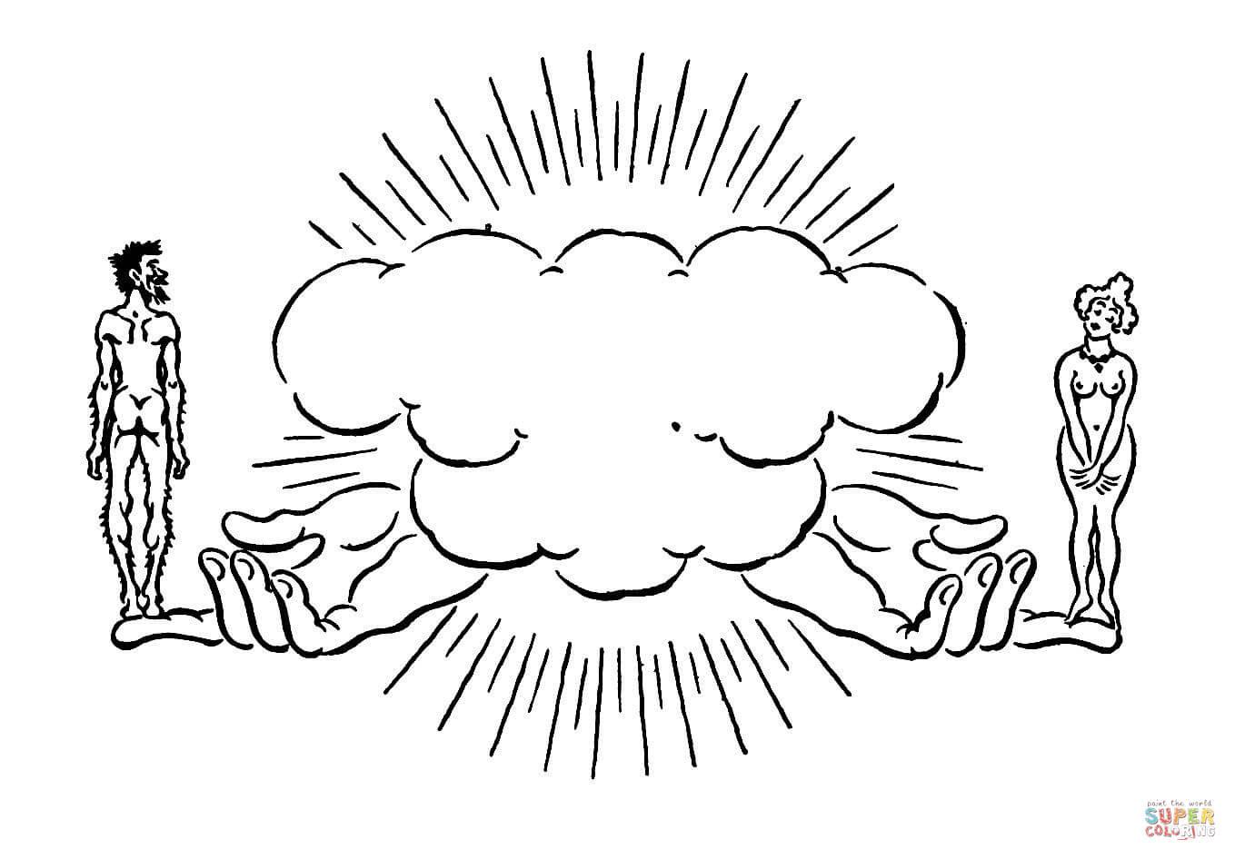 Coloriage Adam Et ève Dans La Main De Dieu Coloriages à Imprimer