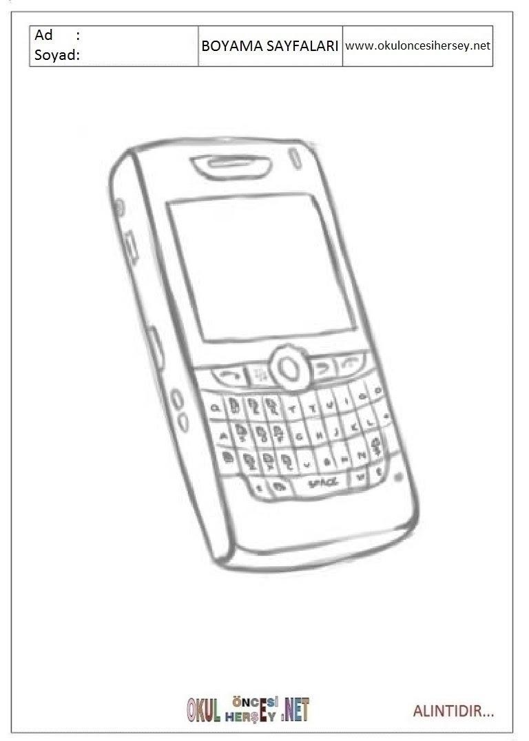Cep Telefonu Boyama Sayfaları