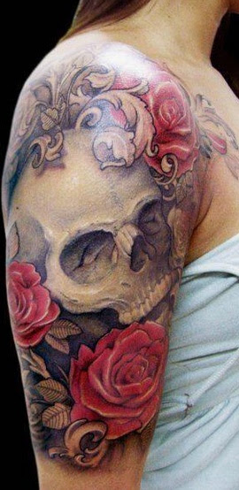 White Skull And Red Rose Tattoos On Half Sleeve