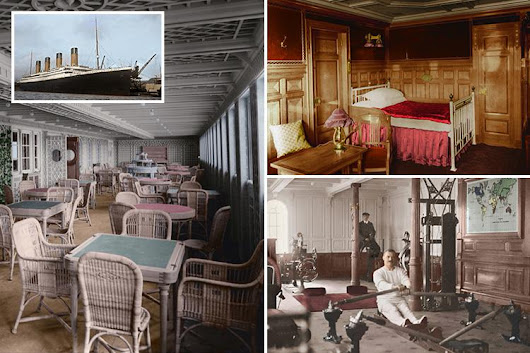 Doomed ship Titanic is pictured as you've never seen her before in these captivating colourised photos