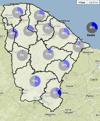 Situação hídrica no Ceará (Foto: Google/Reprodução)
