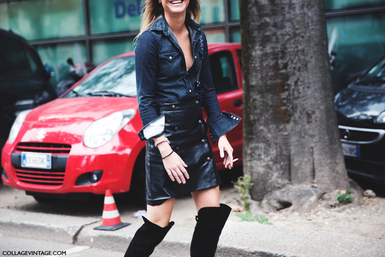 Milan_Fashion_Week_Spring_Summer_15-MFW-Street_Style-Sophie_Pera-Leather_Skirt-Denim_Shirt-XXL_Boots-