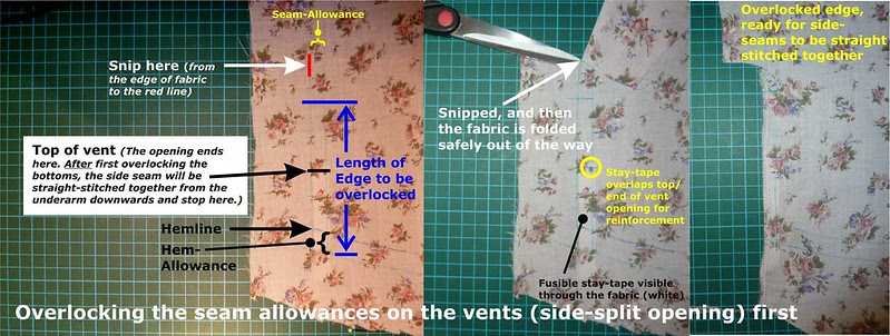 Overlocking the seam allowances on the vents (side-split opening) first