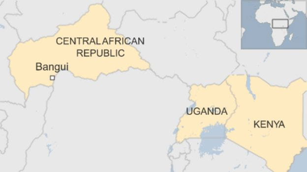 CAR map with Uganda and Kenya