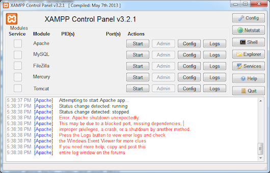 Apache is not running from XAMPP Control Panel - Stack Overflow