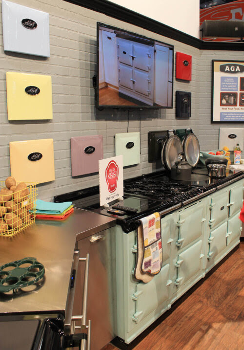 AGA colorful ranges and a retro kitchen at KBIS - Retro Renovation