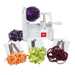 Paderno World Cuisine 3-blade Vegetable Slicer Spiralizer, Counter-mounted And Includes 3 Stainless Steel Blades