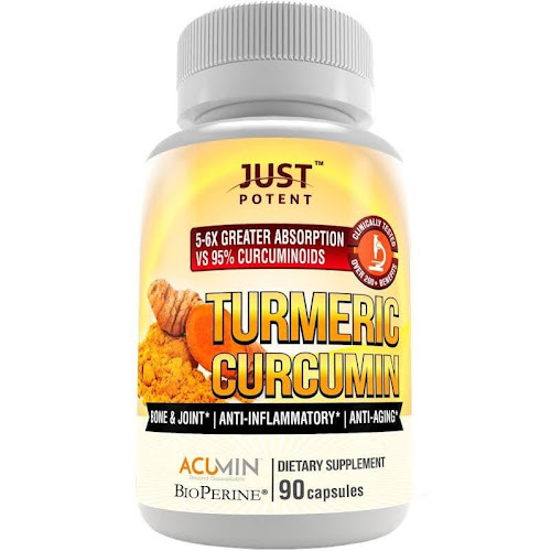 Just Potent Turmeric Curcumin | Ultra-High Absorption | Patented, Clinically Researched and Tested | 5-6 Times Greater Bioavailability Than